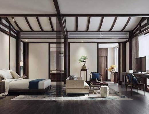 酒店客房, 客厅, 卧室, 多人沙发, 案几, 单人沙发, 凳子, 茶几, 单人椅, 双人床, 床头柜, 吊灯, 盆栽, 花卉, 摆件, 装饰品, 陈设品, 中式