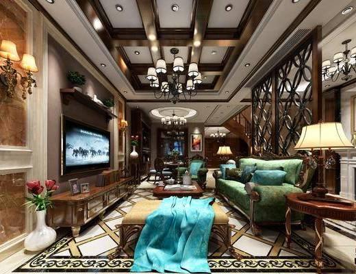 美式客厅, 美式, 客厅, 美式沙发, 吊灯, 台灯, 茶几, 电视柜