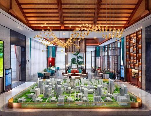 售楼处, 接待厅, 新中式售楼处, 隔断, 植物, 桌椅组合, 沙发组合, 摆件组合, 装饰品, 新中式