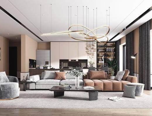 沙发组合, 茶几, 吊灯, 单椅, 墙饰, 摆件组合