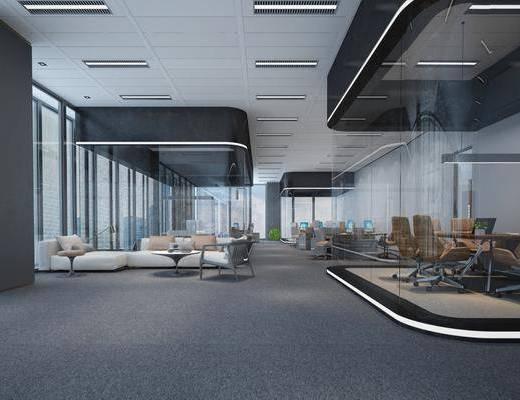 办公室, 办公桌, 办公椅, 单人椅, 桌子, 多人沙发, 休闲沙发, 吊灯, 现代