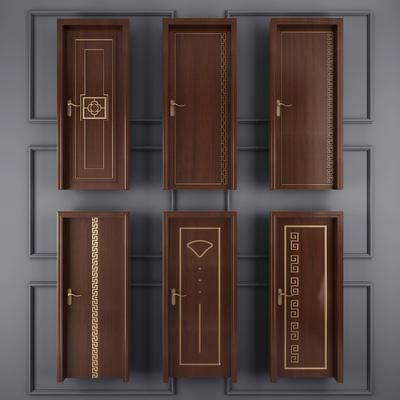 门, 单门, 推拉门, 木门, 卧室门, 门构件