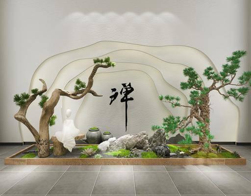 园艺小品, 树木, 植物, 绿植, 假石, 新中式园艺小品, 新中式