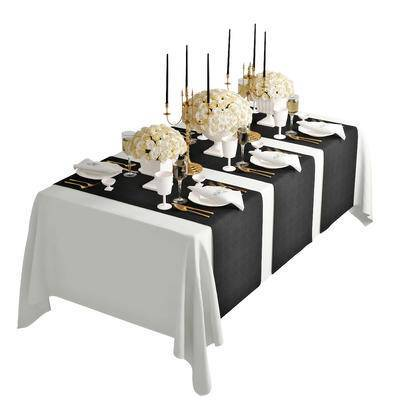 餐桌, 餐具, 刀叉羹碟杯, 餐纸, 餐布, 蜡烛台, 白玫瑰, 花瓶, 现代, 简欧