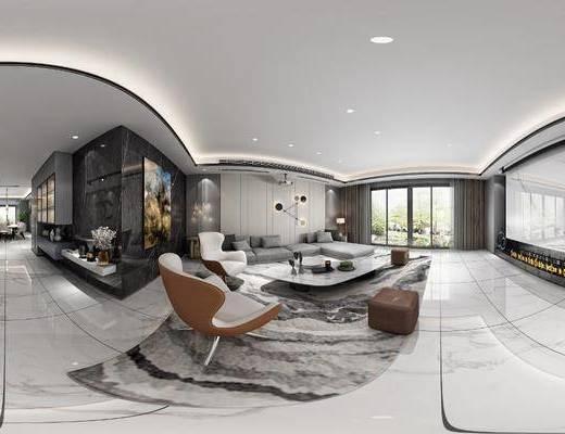 家装全景, 客厅, 餐厅, 沙发组合, 沙发茶几组合, 餐桌椅组合, 摆件组合, 现代