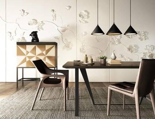 新中式, 新中式餐桌, 实木餐桌, 餐桌组合, 餐桌, 下得乐3888套模型合辑