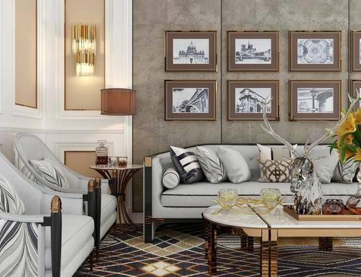 沙发组合, 现代轻奢沙发组合, 茶几, 吊灯, 挂画, 摆件组合