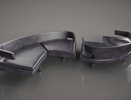 多人沙发, 圆弧沙发, 现代简约