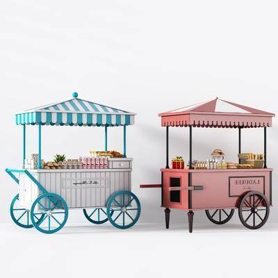 路摊车, 移动摊位, 食物, 面包车, 现代