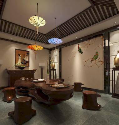 茶室, 新中式茶室, 茶具, 摆件组合