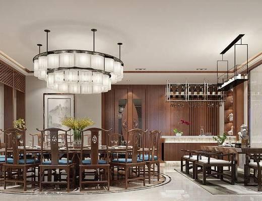 包房, 包间, 吊灯, 中式餐厅, 餐厅, 餐桌椅