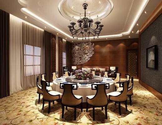 新中式, 餐饮, 工装, 包间, 包厢, 圆桌, 餐桌, 餐具, 吊灯, 椅子