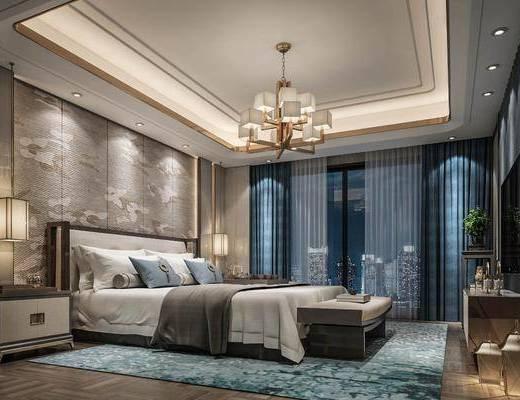 卧室, 双人床, 床尾凳, 床头柜, 吊灯, 电视柜, 边柜, 摆件, 装饰品, 陈设品, 新中式轻奢