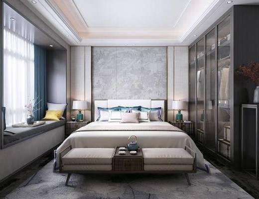 双人床, 床头柜, 床尾踏, 台灯, 衣柜