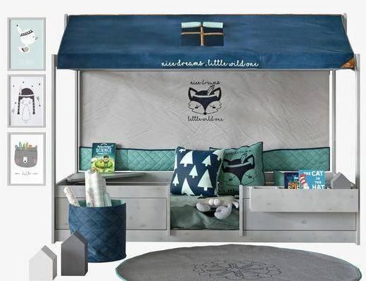 现代男孩房, 挂画, 儿童床