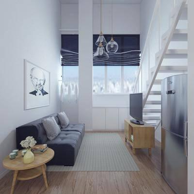 公寓, 客厅, 沙发, 茶几, 北欧公寓, 北欧客厅, 电视柜, 圆几, 摆件, 挂画, 北欧