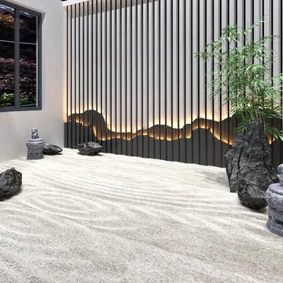 庭院, 中式庭院, 中式, 盆栽, 沙