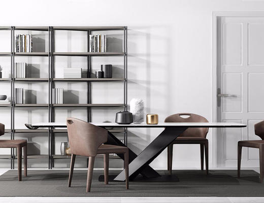现代简约, 实木餐桌, 桌椅组合, 置物架, 书籍