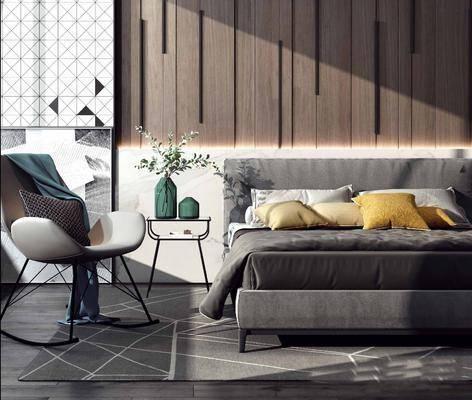 臥室, 雙人床, 單人床, 單人椅, 床頭柜, 花瓶, 綠植植物, 現代
