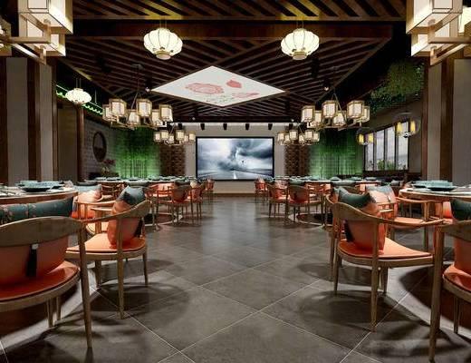餐厅, 餐饮, 餐桌椅, 椅子, 中式吊灯