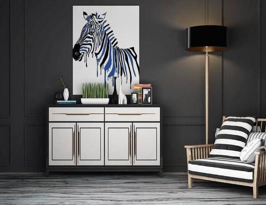 边柜, 单人沙发, 落地灯, 摆件, 装饰画