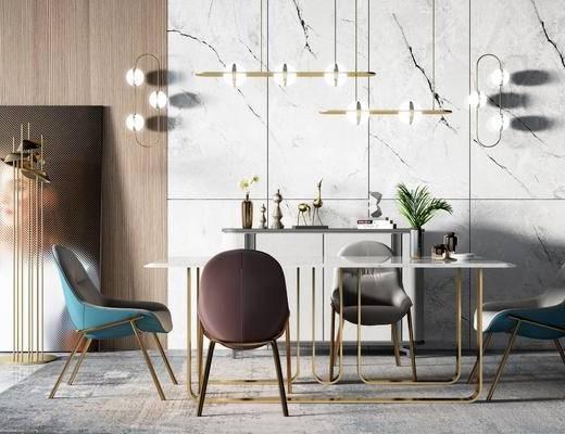 餐桌, 桌椅组合, 吊灯, 摆件组合, 植物