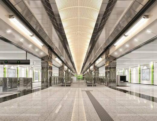 地铁车站, 盲道闸机, 现代
