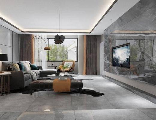 客厅, 多人沙发, 单人沙发, 茶几, 躺椅, 边几, 台灯, 落地灯, 吊灯, 装饰画, 挂画, 现代