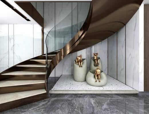 现代楼梯, 护栏楼梯, 楼梯