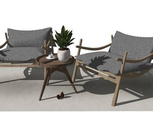 单椅, 躺椅, 茶几, 摆件组合, 植物