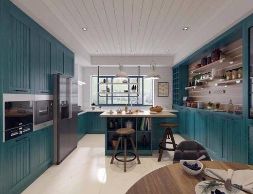 厨房, 吧台, 吧椅, 单人椅, 冰箱, 吊灯, 洗手台, 工业风