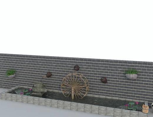 水景墙, 景观园林, 中式