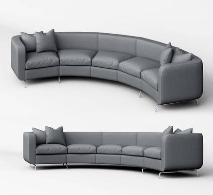 现代, 多人沙发, 沙发, 弧形沙发