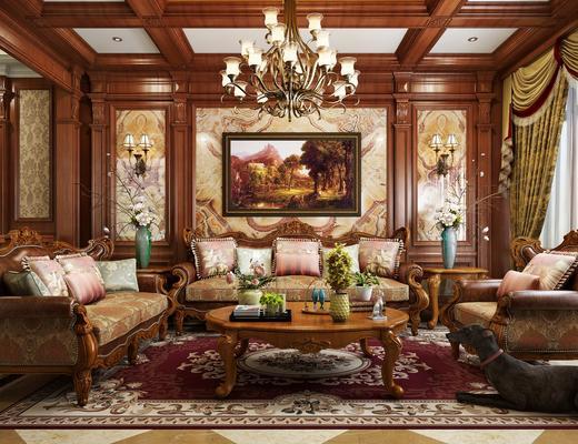 美式客厅, 多人沙发, 单人沙发, 茶几, 吊灯, 壁灯, 花艺, 沙发背景墙