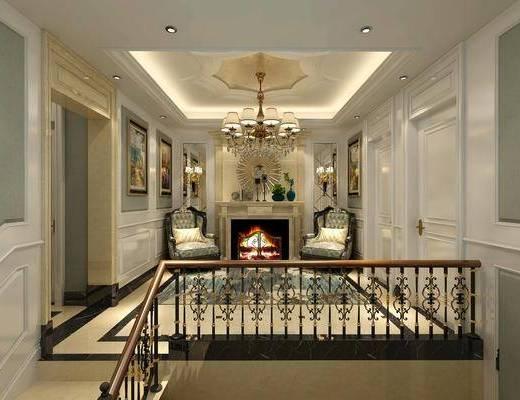壁炉, 雕花, 栏杆, 吊灯, 装饰画, 楼梯间