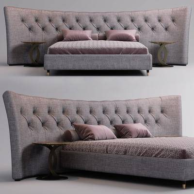 双人床, 枕头, 桌子, 布艺, 边几, 现代