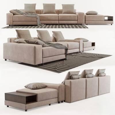多人沙发, 沙发脚踏, 沙发凳, 地毯, 组合, 现代沙发, 现代