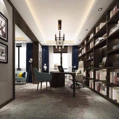 书房, 装饰柜, 装饰架, 书柜, 书籍, 书桌, 单人椅, 吊灯, 摆件, 装饰画, 挂画, 新古典