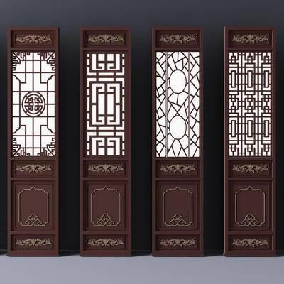 新中式, 雕花, 屏风, 隔断