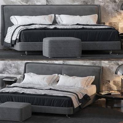 双人床, 现代床, 边几, 沙发脚踏, 床尾凳, 地毯, 组合, 台灯, 现代