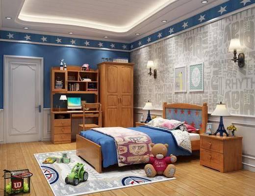 单人床, 壁灯, 装饰画, 床头柜, 桌椅组合, 背景墙