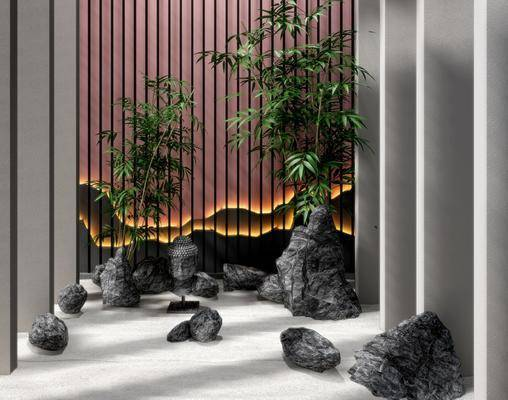 景观石头, 园艺小品, 石头竹子, 新中式