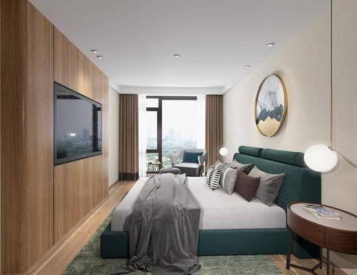 卧室, 现代卧室, 床具组合, 吊灯
