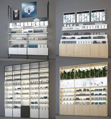 展柜货柜, 货架, 护肤品专柜, 绿植植物, 现代