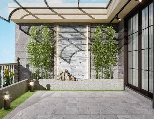 阳台景观, 阳台露台, 竹子, 绿植植物, 现代