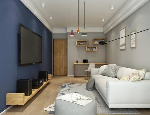 休闲室, 北欧客厅, 北欧沙发, 谷仓门, 吊灯, 书桌