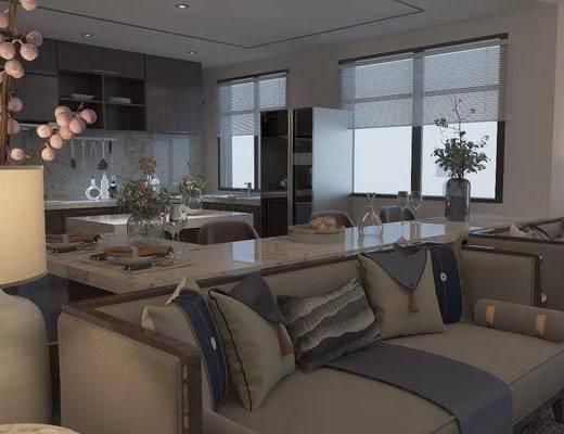 客厅, 餐厅, 多人沙发, 双人沙发, 茶几, 单人沙发, 台灯, ?#21830;? 吧椅, 单人椅, 休闲椅, 吊灯, 摆件, 装饰品, 陈设品, 餐具, 干树枝, 花卉, 花瓶, 新中式