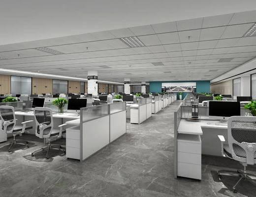 办公区, 电脑桌, 单人椅, 盆栽, 绿植, 现代