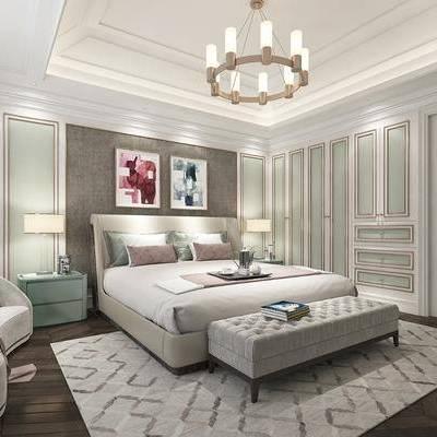 简欧卧室, 双人床, 床尾凳, 床头柜, 多人沙发, 地毯, 简欧