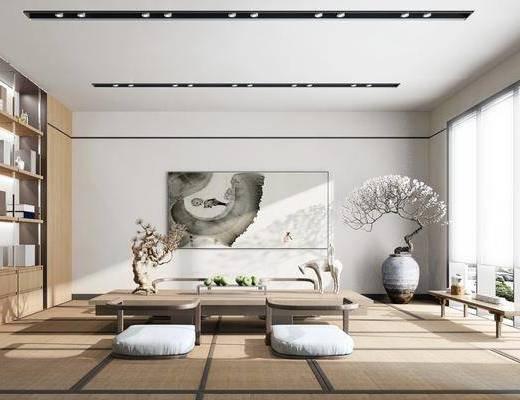 休闲茶室, 茶桌, 花瓶, 干树枝, 装饰画, 装饰柜, 摆件, 装饰品, 陈设品, 新中式
